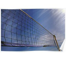 Volleyball Net Against Blue Cloudy Sky  Poster