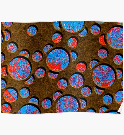 Silicon Atoms Blue Red Brown Poster