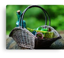 A basketfull of bottles Canvas Print