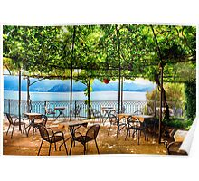 Restaurant Tables on a Patio Under a Trellis with a Lake View Poster