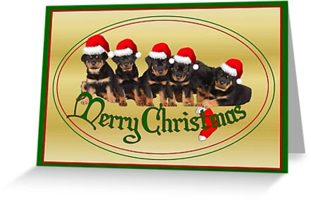 Merry Christmas Rottweiler Puppies Greeting Card by taiche