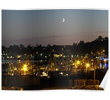 Night time on the bayfront... Newport Bay, Oregon Poster