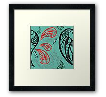 Aqua Red Black Tattoo Paisley Framed Print