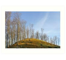 Empty hill curve in warm colours Art Print