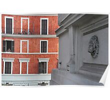 Men on the Window in Via Cavour Poster