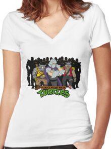 TMNT - Foot Soldiers with Shredder, Bebop & Rocksteady - Teenage Mutant Ninja Turtles Women's Fitted V-Neck T-Shirt