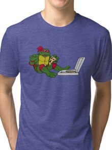 TMNT - Raphael with Pizza Tri-blend T-Shirt