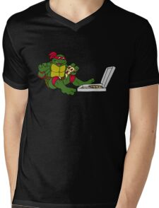 TMNT - Raphael with Pizza Mens V-Neck T-Shirt