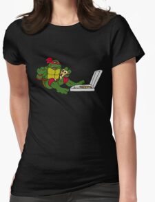 TMNT - Raphael with Pizza Womens Fitted T-Shirt