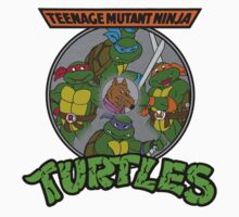 TMNT - Sewer Lid Four Turtles with Splinter  Kids Tee