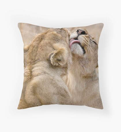 Lionesses Grooming Throw Pillow