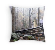 Cabin In The Mist Throw Pillow