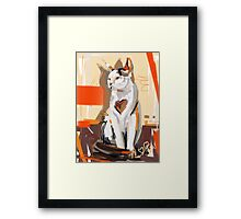 Cat big heart Framed Print