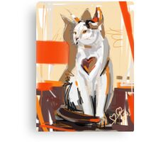 Cat big heart Canvas Print