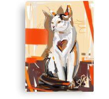 Cat big heart Canvas Print