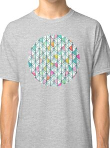 Pencil & Paint Fish Scale Cutout Pattern - white, teal, yellow & pink Classic T-Shirt