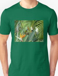 Blue headed honey eater on bird of paradise flower. Unisex T-Shirt