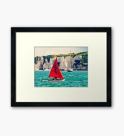 Little Red Sailboat. Framed Print