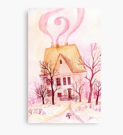 Pinky fairytale cottage Canvas Print