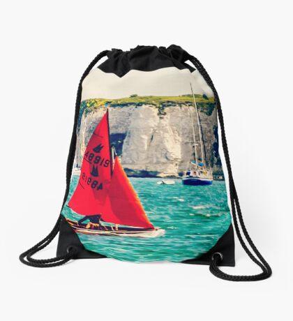 Little Red Sailboat. Drawstring Bag