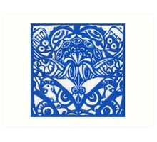 Watchers an Eyes Tangle Lino Cut Blue Monoprint Art Print