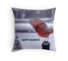 Cardinal for the Holidays Throw Pillow