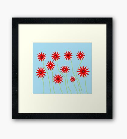 Field of Flowers- digital art  Framed Print