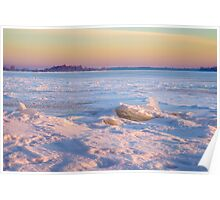 Pink Reflection on the Frozen River Poster