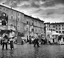 Tourists in Piazza Navona by Eyal Geiger