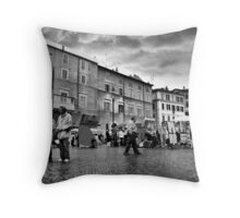 Tourists in Piazza Navona Throw Pillow