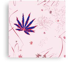 Crazy Marijuana Leaves and Scratches on Pink Canvas Print