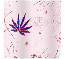 Crazy Marijuana Leaves and Scratches on Pink Poster