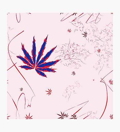 Crazy Marijuana Leaves and Scratches on Pink Photographic Print