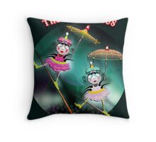 The Fleas Circus - The Tightrope Walker Fleas Sisters Throw Pillow