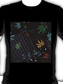 Colorful Marijuana Leaves and Grid T-Shirt