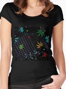 Colorful Marijuana Leaves and Grid Women's Fitted Scoop T-Shirt