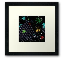 Colorful Marijuana Leaves and Grid Framed Print