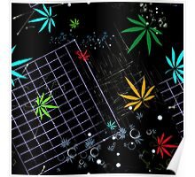 Colorful Marijuana Leaves and Grid Poster
