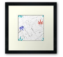 Colorful Marijuana Leaves and Scratches Framed Print