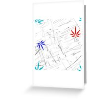 Colorful Marijuana Leaves and Scratches Greeting Card