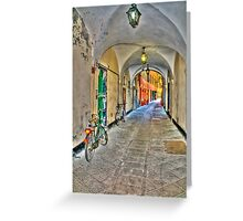 bicycle in the alley Greeting Card