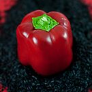 Red Bell Pepper on Black Venus Rice by Ilva Beretta
