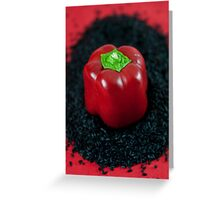 Red Bell Pepper on Black Venus Rice Greeting Card