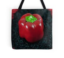 Red Bell Pepper on Black Venus Rice Tote Bag