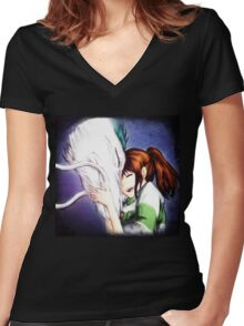 Spirited Away - Chihiro & Haku Women's Fitted V-Neck T-Shirt