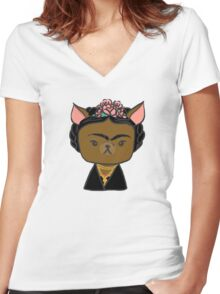 Frida Chihuahua Women's Fitted V-Neck T-Shirt