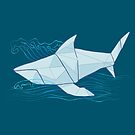 Origami Chomp Chomp On Blue by RileyRiot