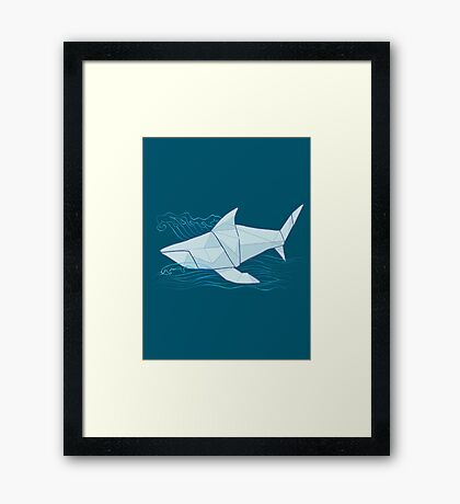 Origami Chomp Chomp On Blue Framed Print