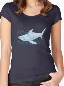 Origami Chomp Chomp On Blue Women's Fitted Scoop T-Shirt