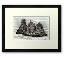 III Three Sisters Blue Mountains Colour Pencil Drawing Framed Print